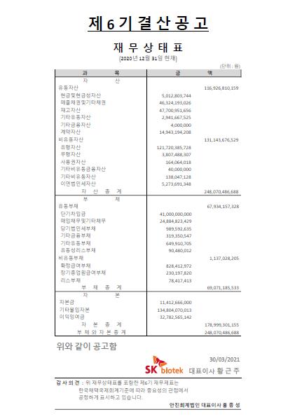 SK biotek Korea Financial Accounts 2020